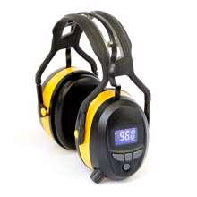 Afbeeldingen van Gehoorbeschermer met digitale radio, Bluetooth en ingebouwde MP3. In de kleur geel.