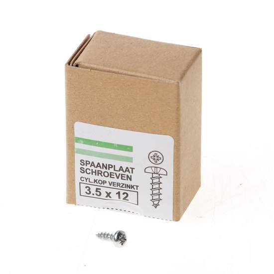 Afbeelding van QZ Spaanplaatschroef cilinderkop verzinkt pozidriv 3.5x12mm (per 200 stuks)