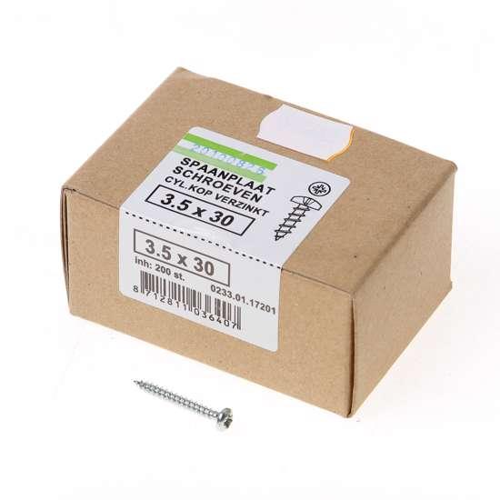 Afbeelding van QZ Spaanplaatschroef cilinderkop verzinkt pozidriv 3.5x30mm (per 200 stuks)