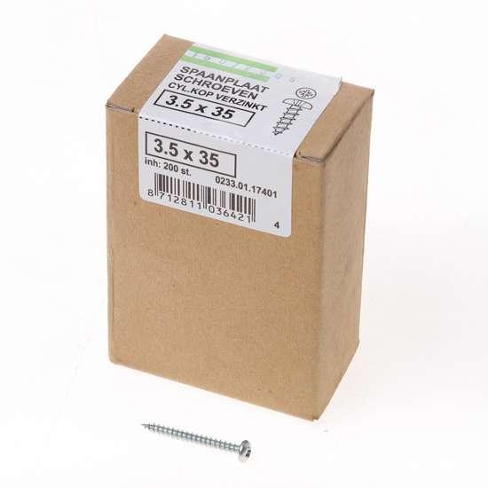 Afbeelding van QZ Spaanplaatschroef cilinderkop verzinkt pozidriv 3.5x35mm (per 200 stuks)