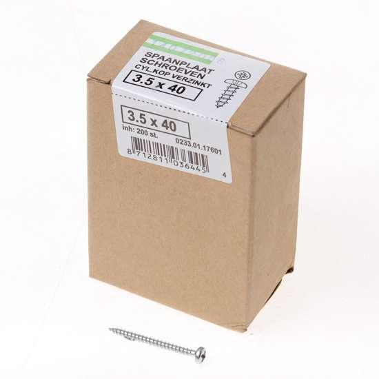 Afbeelding van QZ Spaanplaatschroef cilinderkop verzinkt pozidriv 3.5x40mm (per 200 stuks)