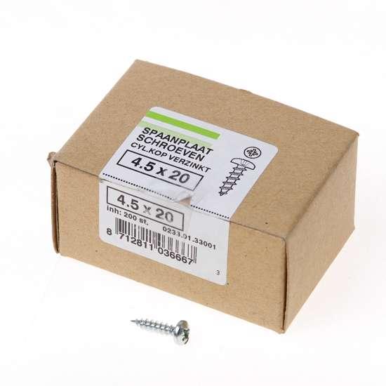 Afbeelding van QZ Spaanplaatschroef cilinderkop verzinkt pozidriv 4.5x20mm (per 200 stuks)