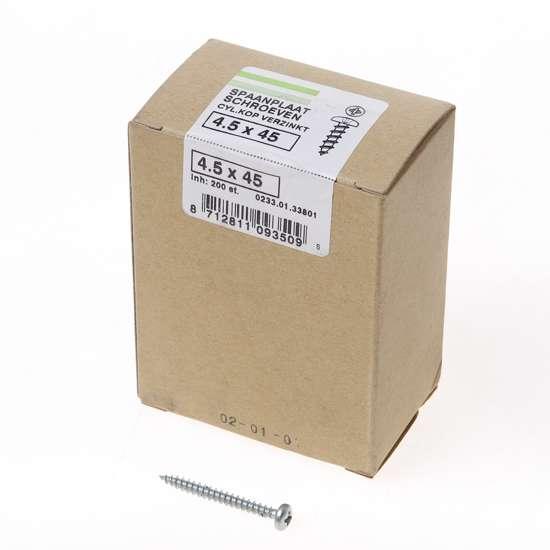 Afbeelding van QZ Spaanplaatschroef cilinderkop verzinkt pozidriv 4.5x45mm (per 200 stuks)