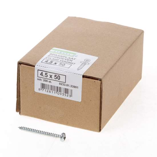 Afbeelding van QZ Spaanplaatschroef cilinderkop verzinkt pozidriv 4.5x50mm (per 200 stuks)