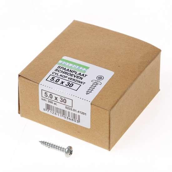 Afbeelding van QZ Spaanplaatschroef cilinderkop verzinkt pozidriv 5.0x30mm (per 200 stuks)