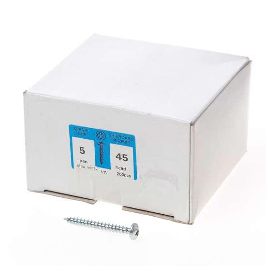 Afbeelding van QZ Spaanplaatschroef cilinderkop verzinkt pozidriv 5.0x45mm (per 200 stuks)