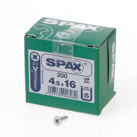 Afbeelding van Spax Spaanplaatschroef platverzonken kop verzinkt pozidriv 4.5x16mm (per 200 stuks)