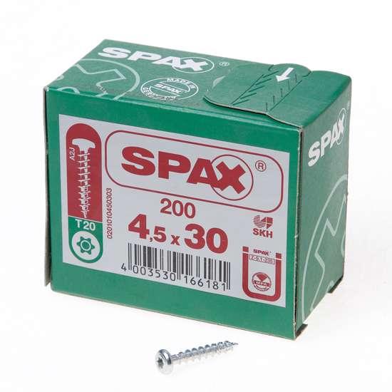 Afbeelding van Spax Spaanplaatschroef bolkop verzinkt T-Star T20 4.5x30mm (per 200 stuks)