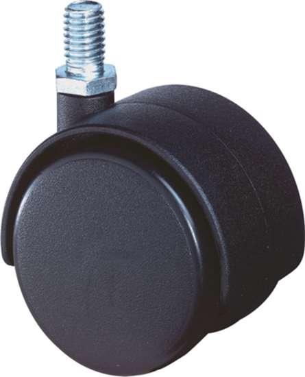 Afbeelding van Meubelzwenkwiel zwart kunststof met verzinkte draadstift M8X15mm D=40mm 30kg
