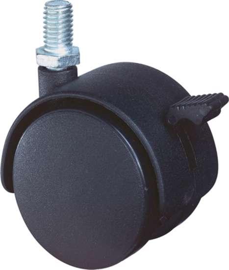 Afbeelding van Meubelzwenkwiel zwart kunststof met rem en verzinkte draadstift 40kg m8 50mm