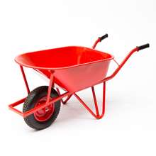 Afbeeldingen van Kruiwagen staal versterkt frame 85ltr rood