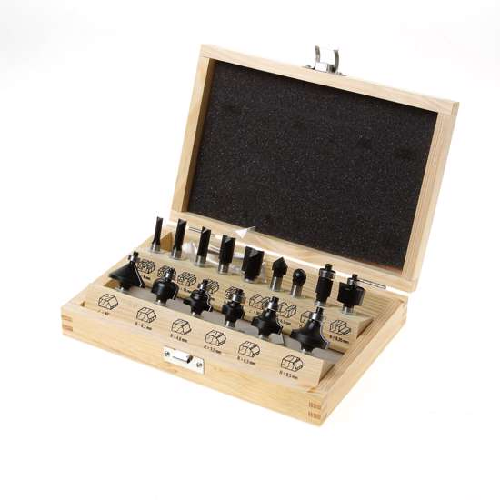 Afbeelding van Trasco HM frezenset in houten kist 15-delig schacht 8mm