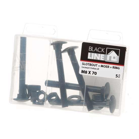 Afbeelding van Slotbouten zwart m8X70 Verpakt per 5 stuks