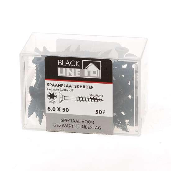 Afbeelding van Hoenderdaal Spaanplaatschroef zwart platverzonken kop TX25 6.0X50