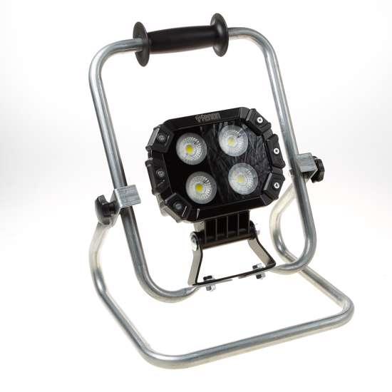 Afbeelding van Bouwlamp ToolWizard TW-40S, universele bouwlamp met accu adapter, dimbaar. Geschikt voor gebruik met accu's van Hikoki, Makita, Bosch en Panasonic.