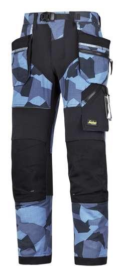 Afbeelding van Snickers FlexiWork broek met holsterzak navy camo zwart maat XXL taille 56 W40