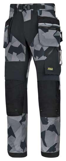 Afbeelding van Snickers FlexiWork broek met holsterzak grijs camo zwart maat L taille 52 W36