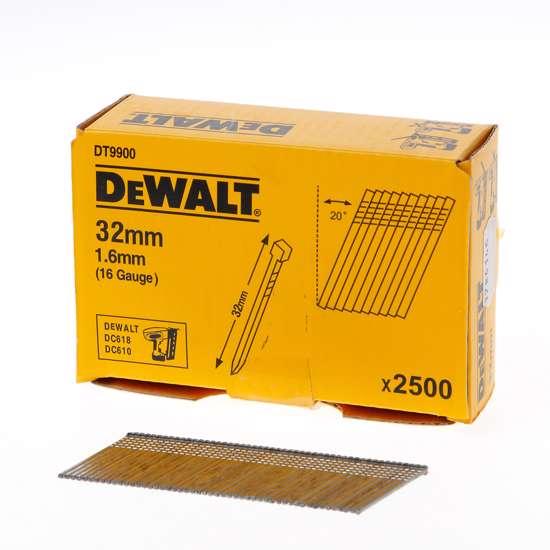 Afbeelding van DeWalt Spijkers zonder kop gegalvaniseerd 32mm 16 Gauge 16mm 20° voor DC618 doos van 2500 spijkers