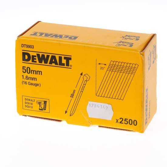 Afbeelding van DeWalt Spijkers zonder kop gegalvaniseerd 50mm 16 Gauge 1,6mm 20° voor DC618 doos van 2500 spijkers