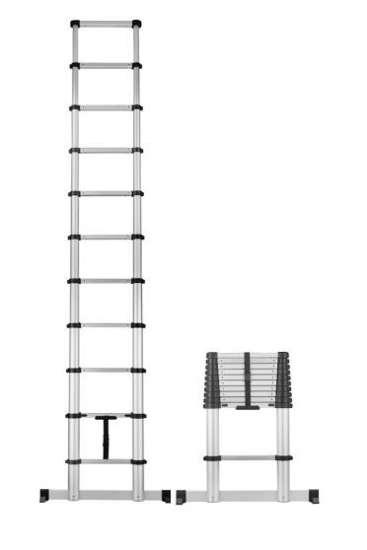 Afbeelding van Telescpoische ladder CAS soft close, Smart Safe Pro, 11 treden, werkhoogte 4,05m, inclusief stabilisatiebalk
